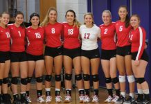 The Luck volleyball team finished 11-1 overall in the West Lakeland and earned a share of the conference championship with Grantsburg. Pictured (L to R): Britta Hibbs, Nancy Olave, Tasian Arjes, Lindsay Mattson, Alyssa Foeller, Brooklyn Petersen, Isabelle Jensen, Katie Mattson and Katie Christensen. Not pictured, coach Sonja Jensen. – Photo by Lori Nelson